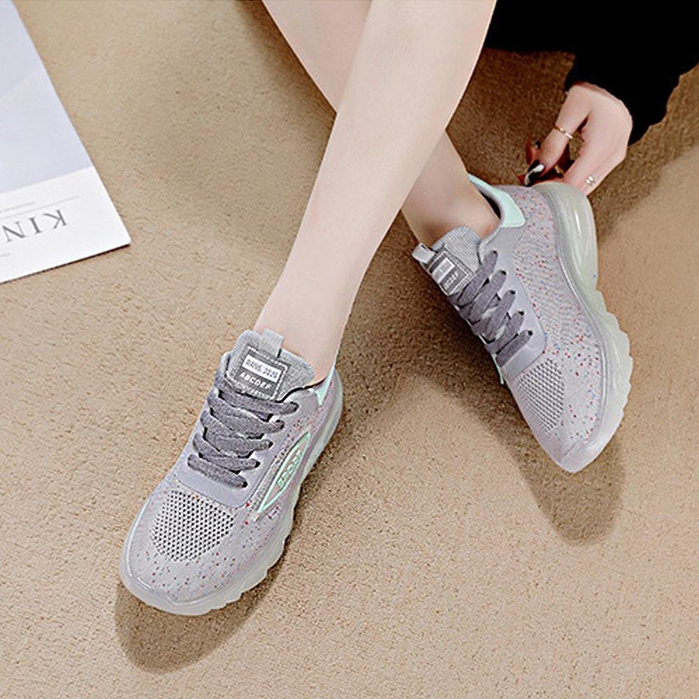 LN  現+預 果凍底夜光飛織運動休閒鞋(運動鞋/休閒鞋) (灰色)