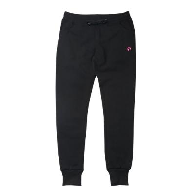 【FIVE UP】女款簡約針織刷毛長褲-黑