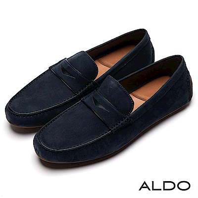ALDO 原色真皮雙車線三角鞋面樂福休閒便鞋~海軍藍色