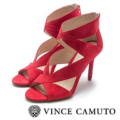 VINCE CAMUTO V字緞帶感麂皮露趾高跟鞋-絨紅