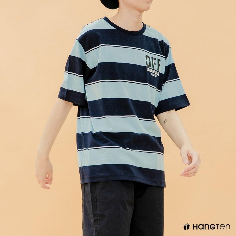 Hang Ten-青少童裝-條紋潮流T恤-藍