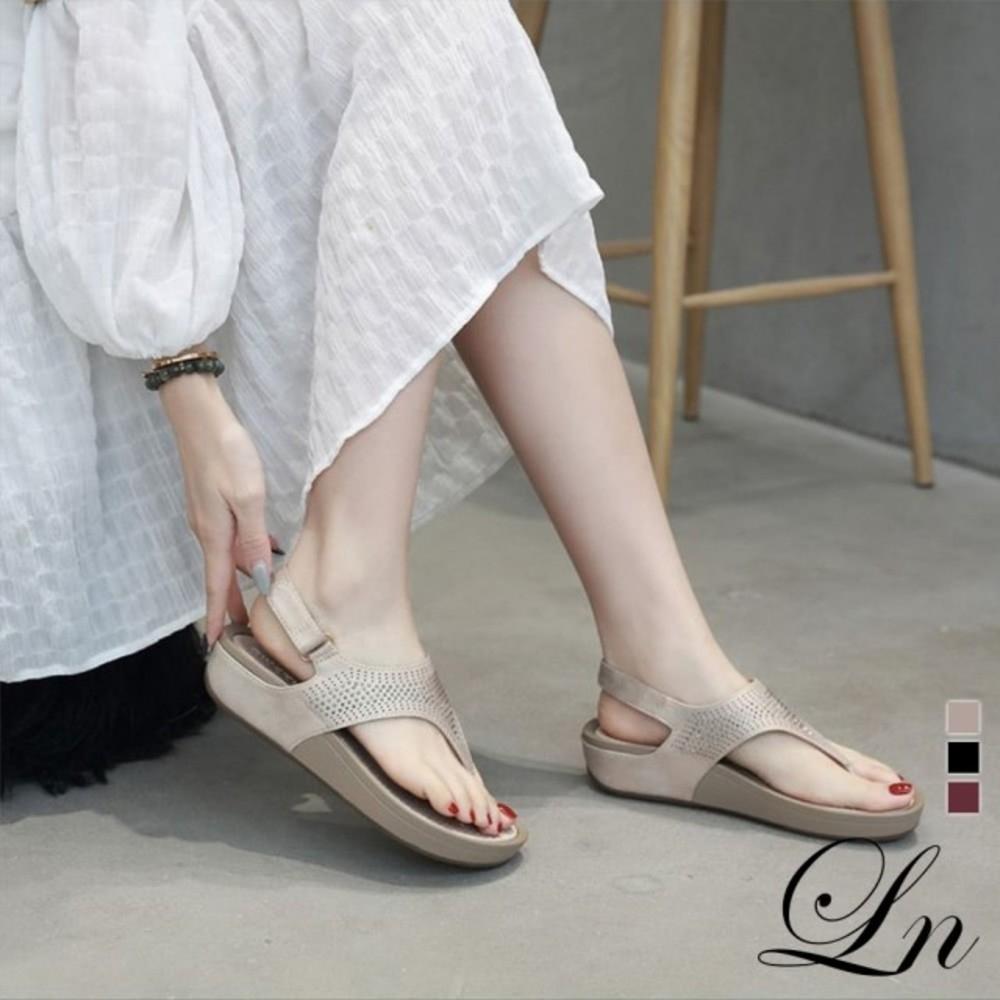 LN 現+預 水鑽波希米亞厚底舒適涼鞋-3色 (杏)