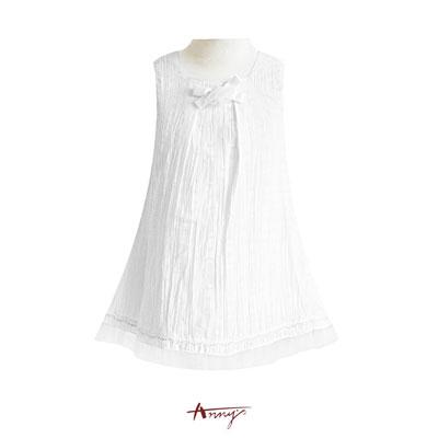 Annys純淨立體玫瑰高緞蝴蝶結抓皺設計洋裝*0153白
