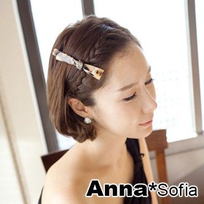 【2件7折】AnnaSofia 玳瑁扁長摺結 純手工長型髮夾