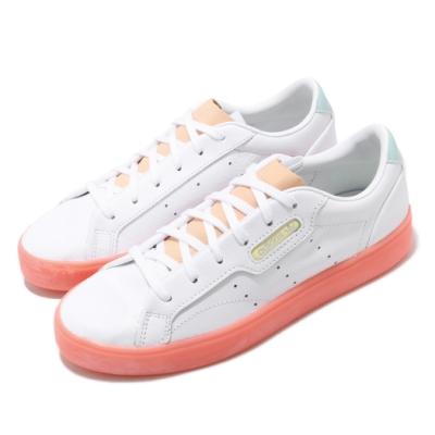 adidas 休閒鞋 Sleek 復古 低筒 女鞋 愛迪達 三葉草 皮革鞋面 穿搭 白 粉橘 FW5463