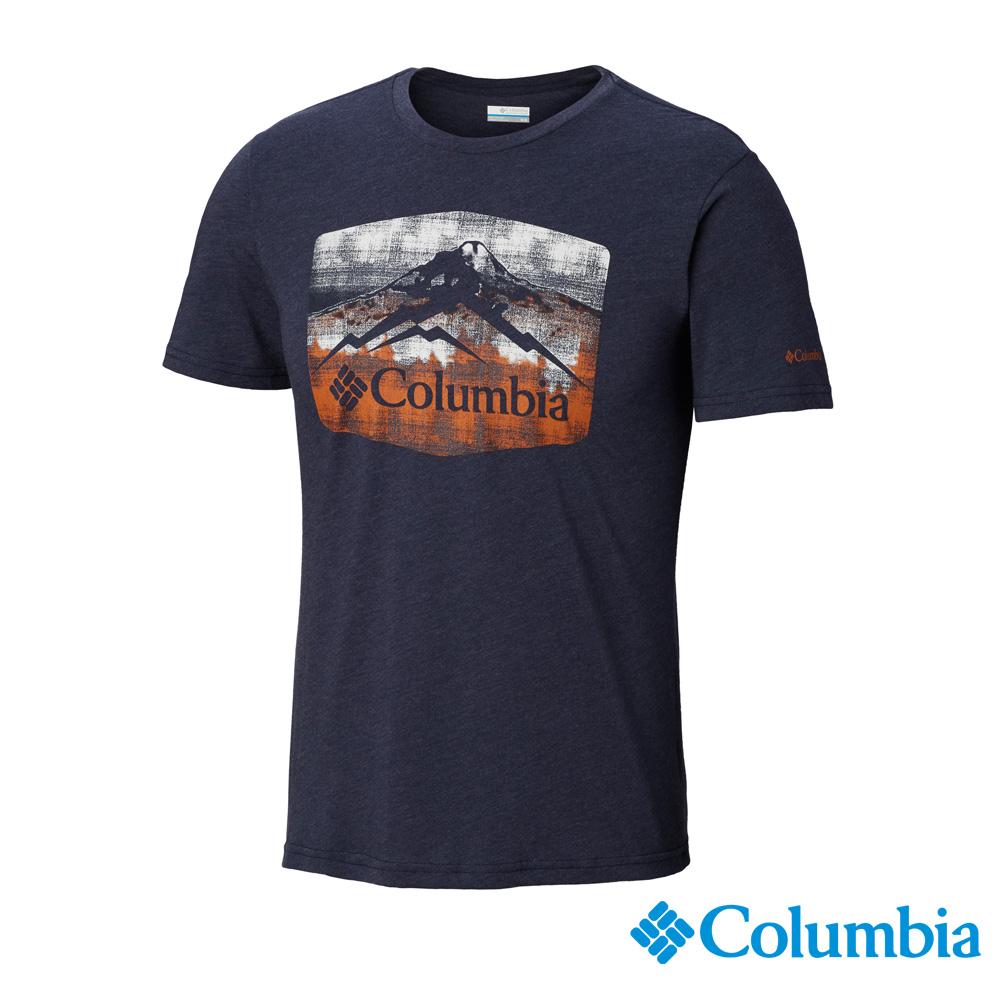 Columbia哥倫比亞 男款-快排短袖上衣-深藍 UAE07300NY