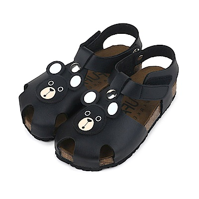 BuyGlasses 可愛熊頭兒童涼鞋-黑
