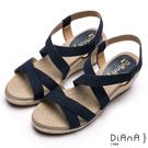 DIANA羅馬線條-質感交叉織帶楔型涼鞋-藍