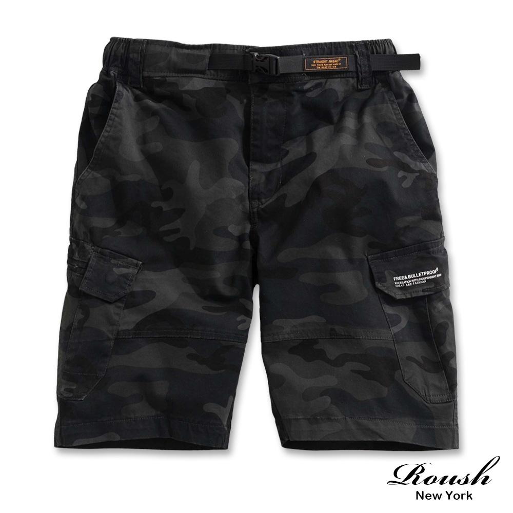 Roush (迷彩)扣帶設計雙口袋重磅水洗短褲(2色)