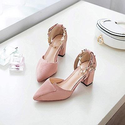 KEITH-WILL時尚鞋館 狂賣千雙鑽鑽粗跟鞋-粉色