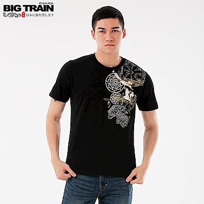BigTrain加大輪柄飛鶴圓領短袖T-男-黑色