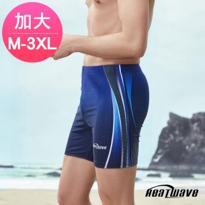 Heatwave熱浪 加大男泳褲 五分褲-水藍波365