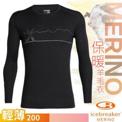 Icebreaker 男新款 200 Oasis 美麗諾羊毛輕薄款長袖圓領上衣_黑