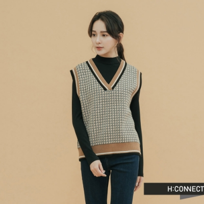 H:CONNECT 韓國品牌 女裝-滾邊復古格紋針織背心-卡其