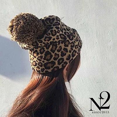 毛帽 正韓豹紋球球毛線帽 N2