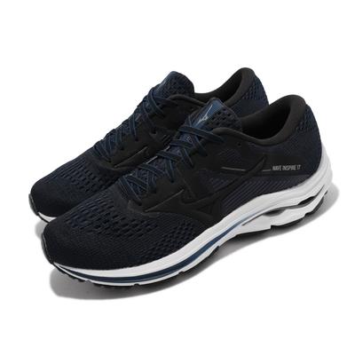 Mizuno 慢跑鞋 Wave Inspire 17 運動 男鞋 美津濃 輕量 緩震 透氣 包覆 路跑 黑 藍 J1GC2144-10