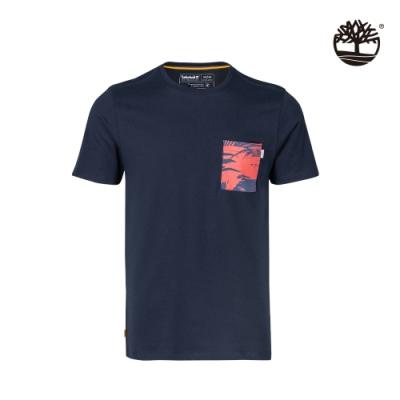 Timberland 男款深寶石藍胸前印花口袋有機棉 T恤|A24YC