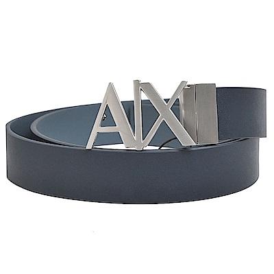ARMANI EXCHANGE 銀色金屬AX字母LOGO高質感牛皮皮帶(藍色皮革)