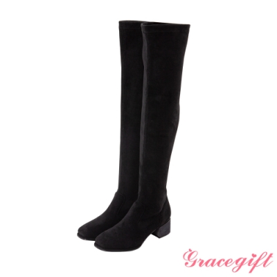 Grace gift-素面方頭絨布膝上靴 黑