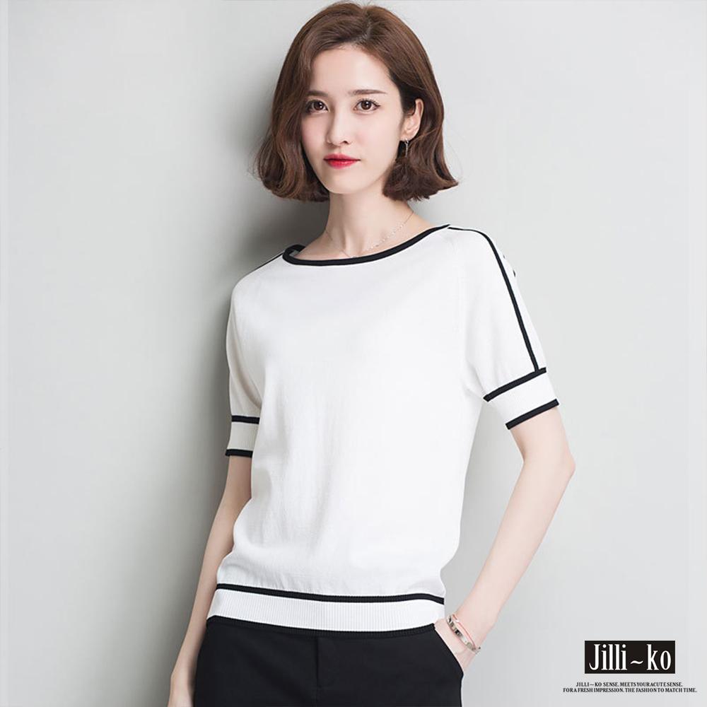 Jilli-ko 薄款麻針織T恤- 白/黑