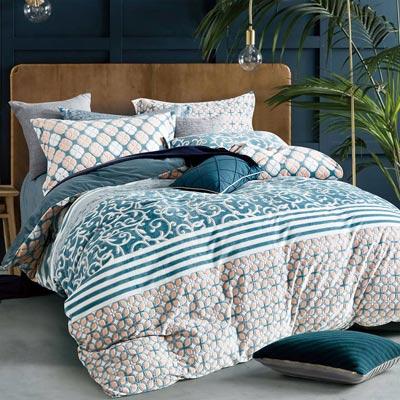羽織美 綠映草原 雕花水晶絨加大鋪棉床包被套組
