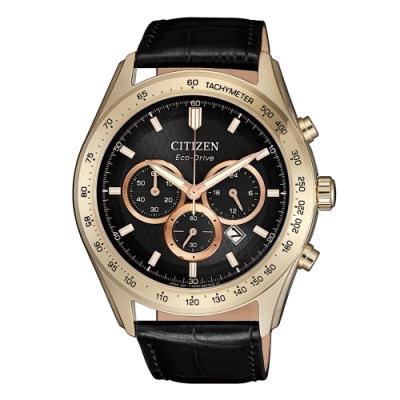 CITIZEN 準確時刻三眼計時光動能皮帶腕錶CA4453-14E
