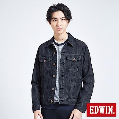EDWIN 503重磅基本款 牛仔外套-男-黑色