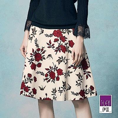 ILEY伊蕾 古典玫瑰印花圓展裙(米)