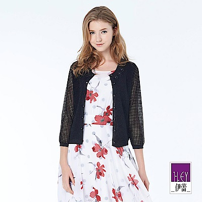ILEY伊蕾 優雅繡花質感針織外套(黑/白)