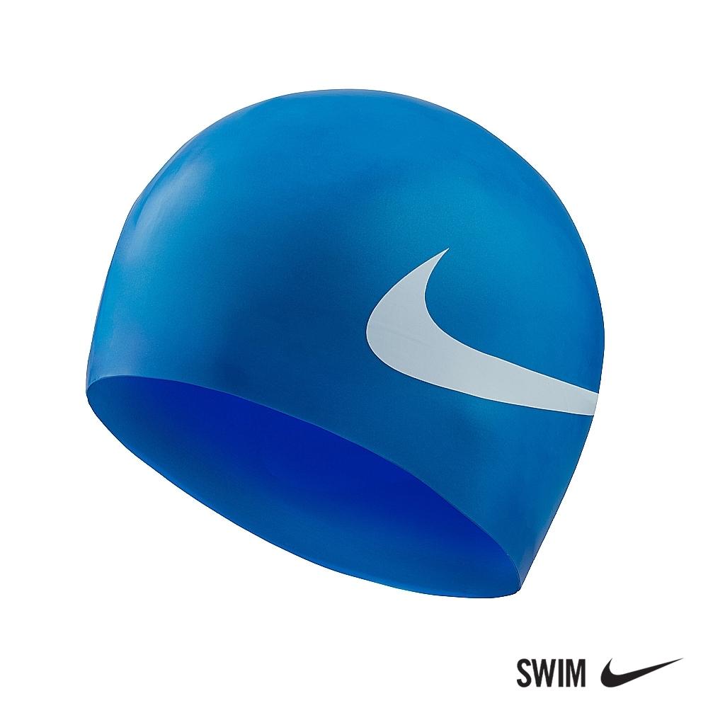 NIKE 成人矽膠泳帽 BIG SWOOSH 寶藍 NESS8163-494