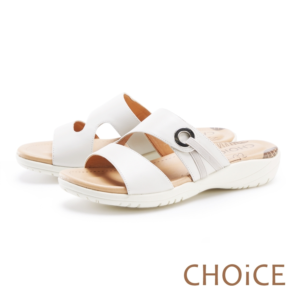 CHOiCE 二字造型真皮厚底 女 拖鞋 白色