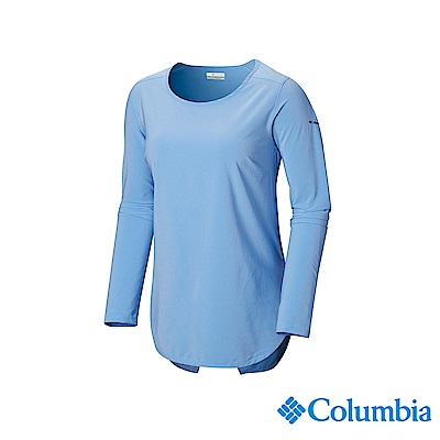 Columbia 哥倫比亞 女款-UPF30快排長袖上衣-藍色 UAL25390BL