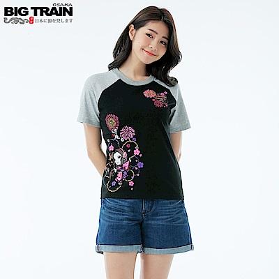 BigTrain蝶姬拉克蘭袖彈性女T-女-黑色