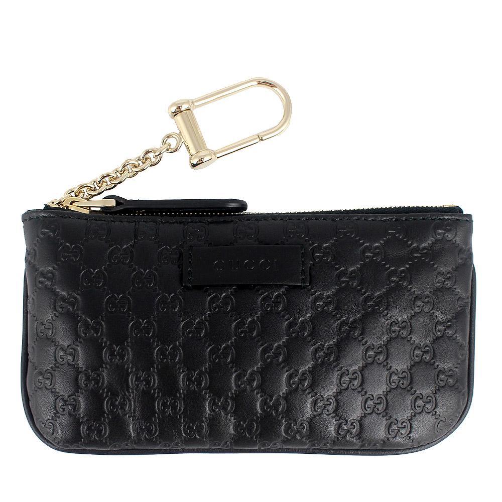 GUCCI Guccissima 黑色真皮壓紋長型拉鍊鑰匙零錢包