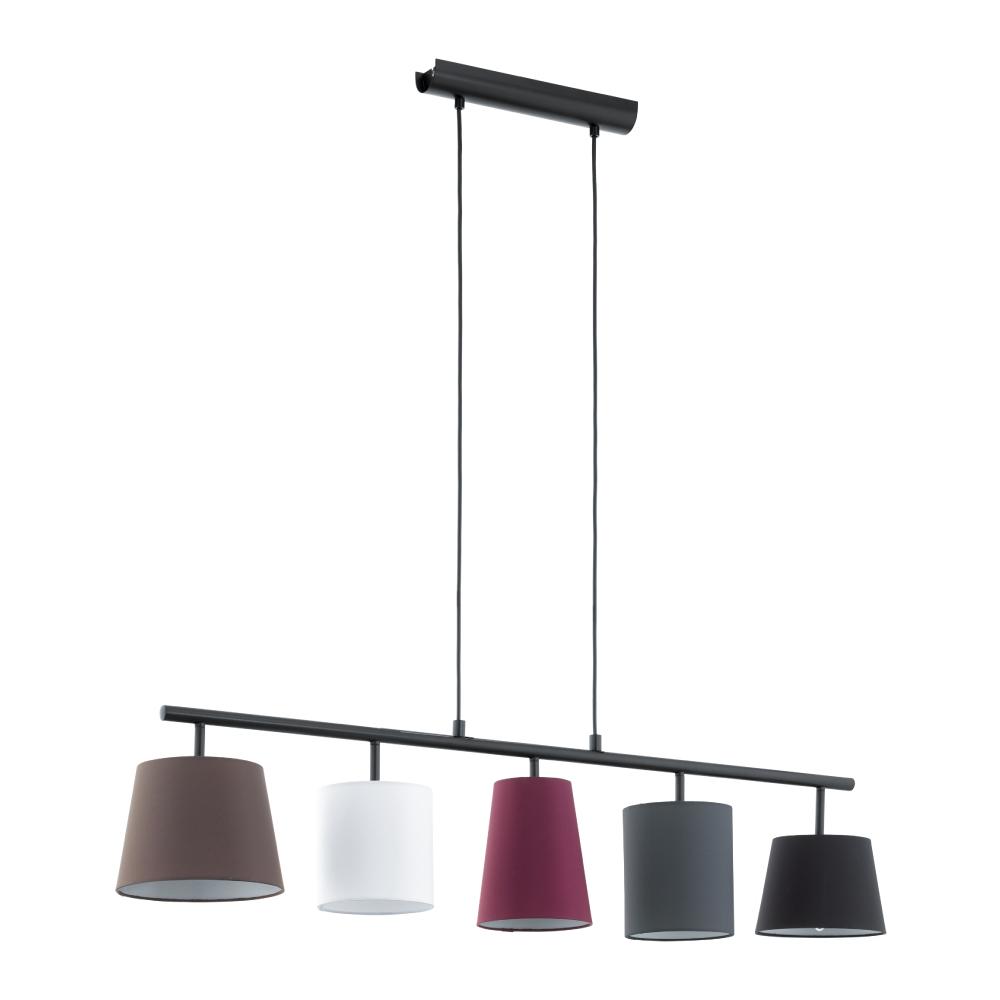 EGLO歐風燈飾 漾彩五色布質燈罩五燈式吊燈(不含燈泡)