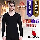 North Field 男 Polartec V領控溫強刷毛保暖衛生衣_黑色