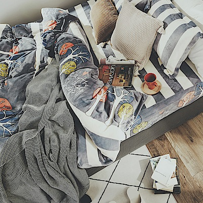 絲薇諾 森森 雙人四件式-法蘭絨 抗靜電鋪棉床包被套組