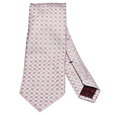 GUCCI 經典菱格GG Guccissima緹花刺繡圖案絲質領帶(粉-148X8cm)