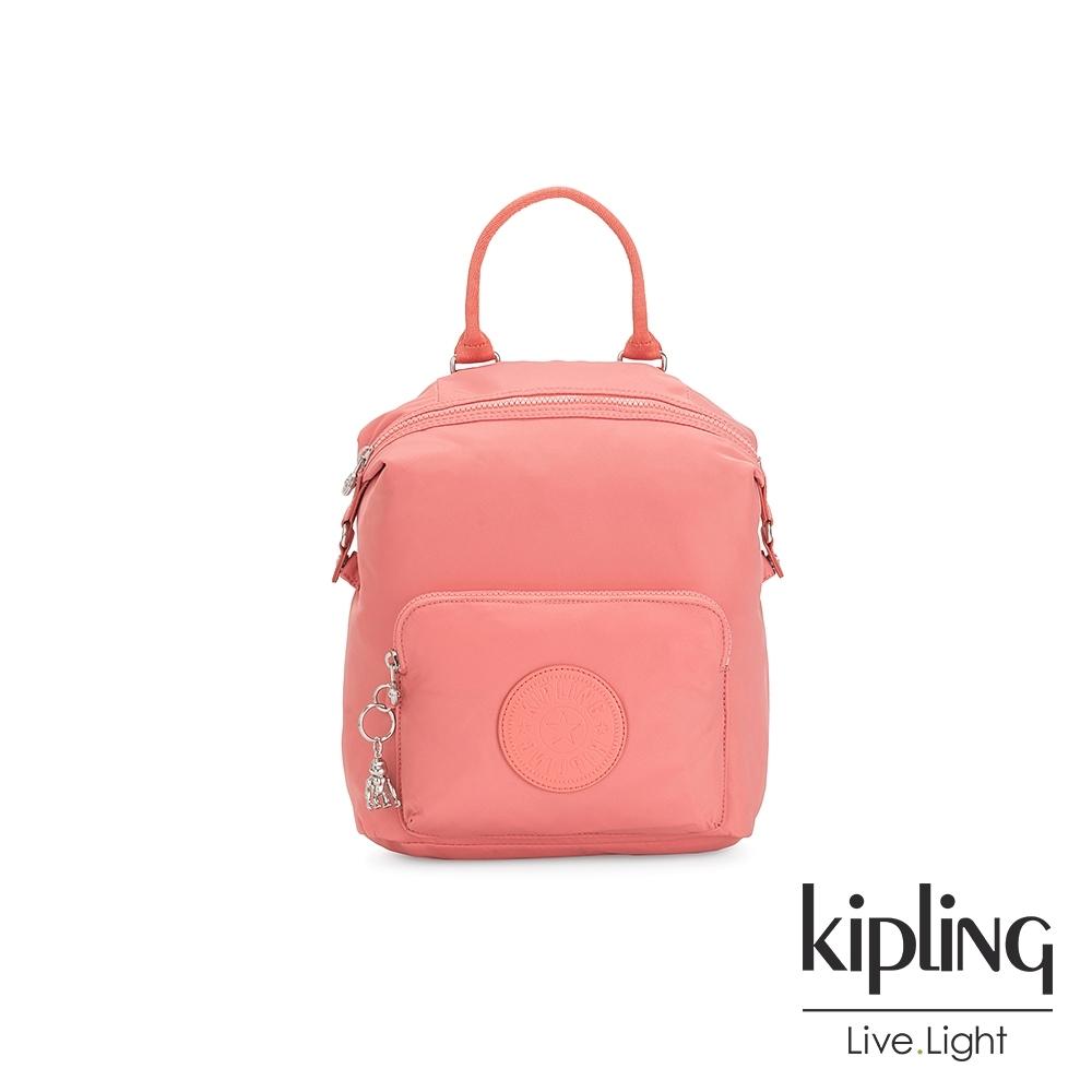 Kipling 粉嫩珊瑚橘多功能手提後背包-NALEB