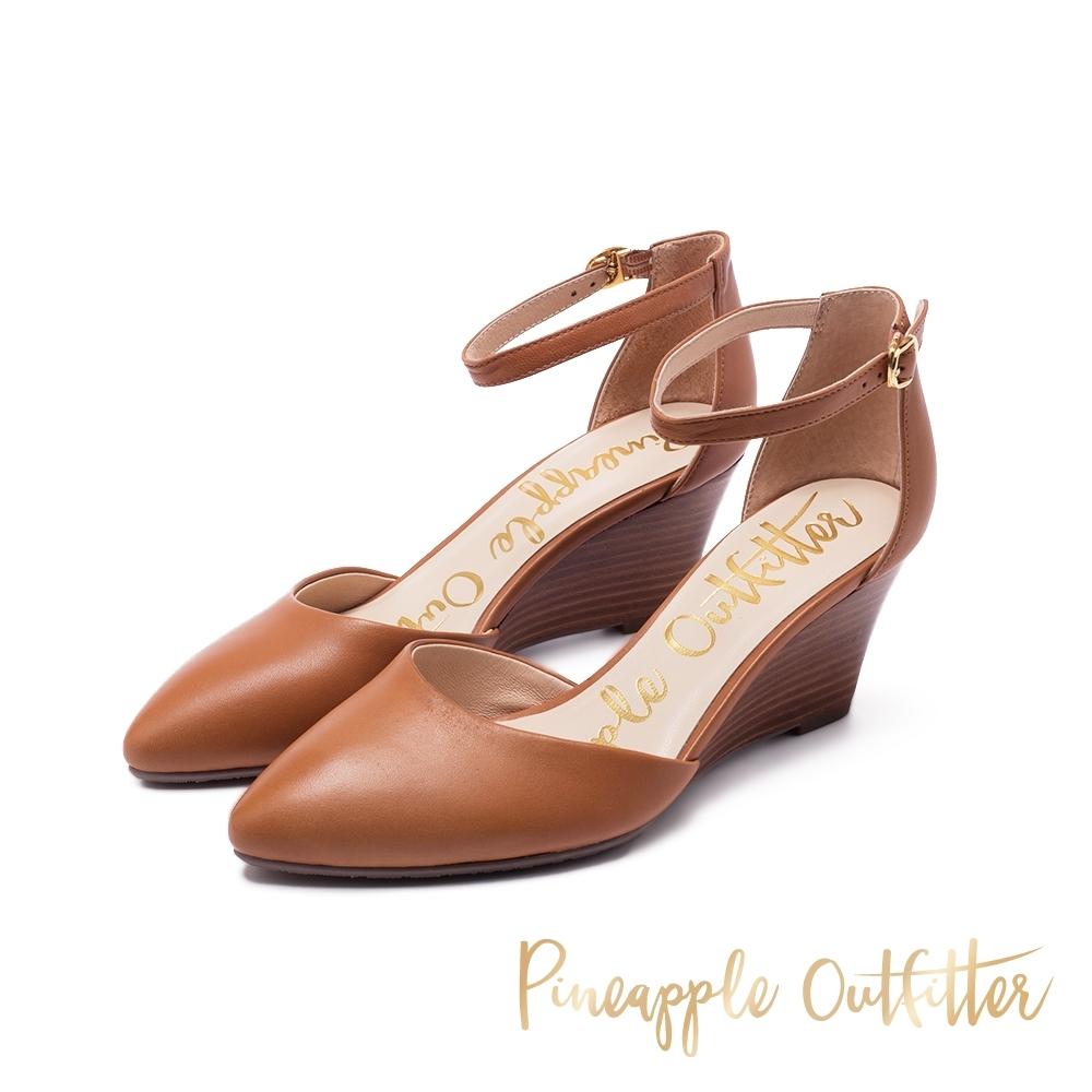 Pineapple Outfitter PIETA 時尚繞踝尖頭楔形鞋-咖啡色