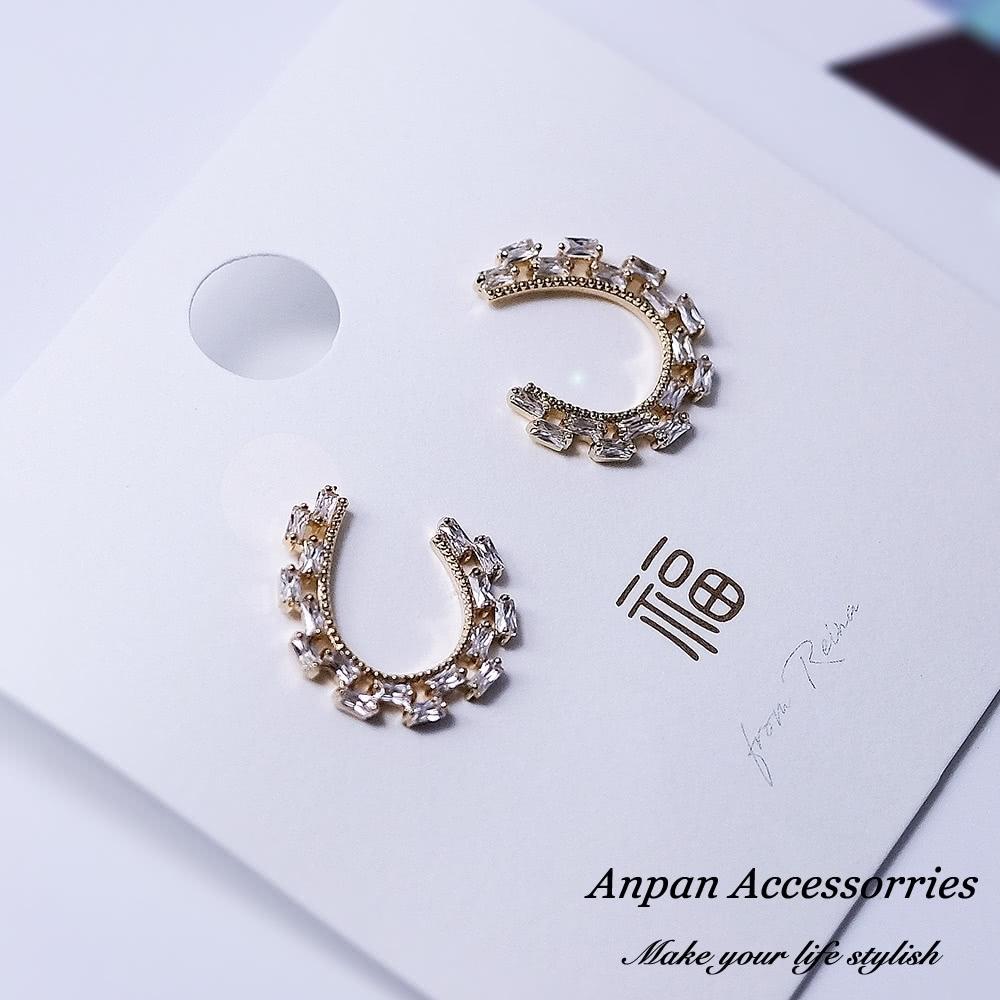 【ANPAN愛扮】韓東大門C型幾何鑽石925銀針耳釘式耳環