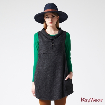 KeyWear奇威名品    垂領切割無袖洋裝-深灰色