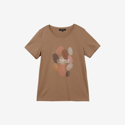 H:CONNECT 韓國品牌 女裝 - 種族平等T-shirt - 深卡其色