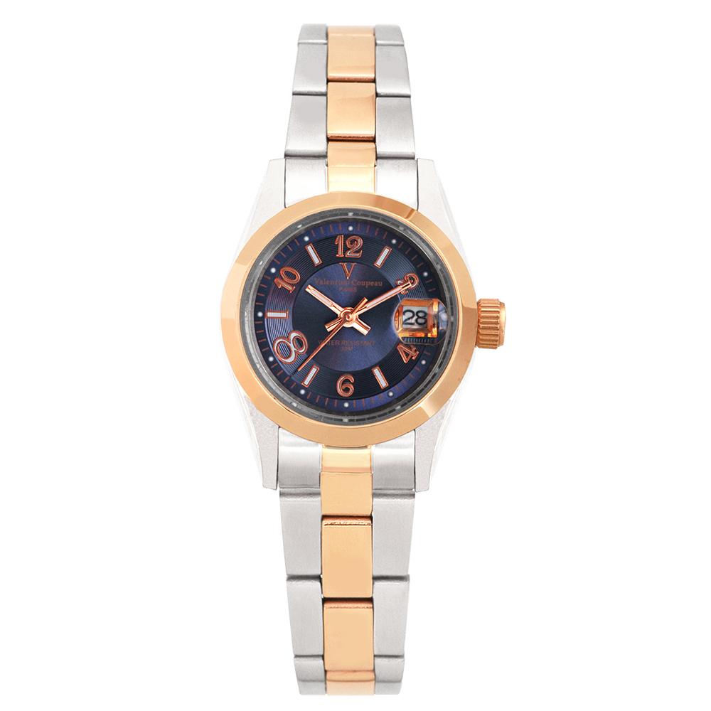 Valentino Coupeau 范倫鐵諾 古柏 都會數字腕錶 (半玫/藍面/女錶) @ Y!購物