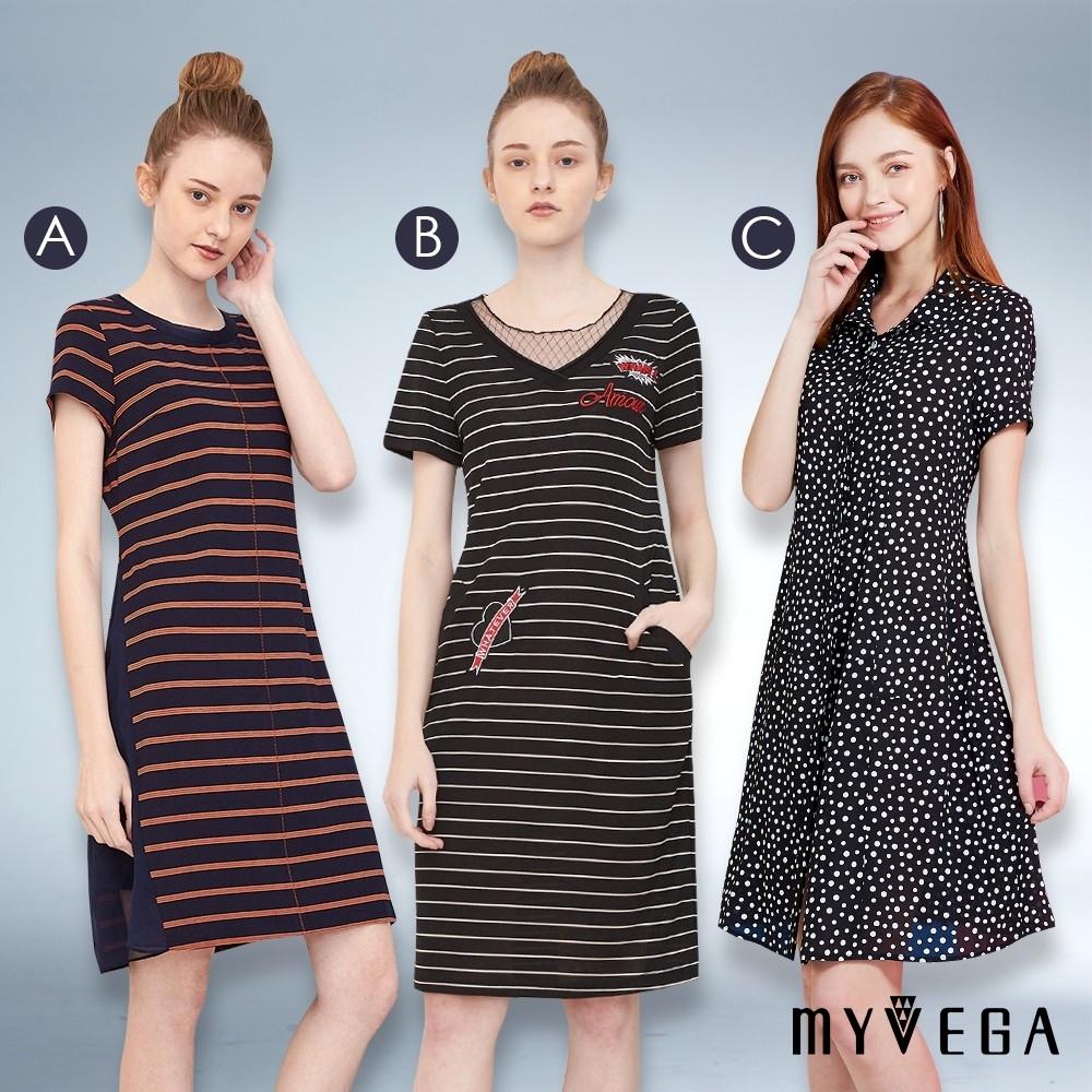 時時樂限定【YIDIE衣蝶】條紋網紗拼接/優雅點點短洋裝 (三款任選)