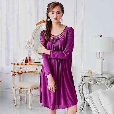 睡衣 彈性珍珠絲質 長袖連身睡衣(R55203-18)葡萄紫-台灣製造 蕾妮塔塔