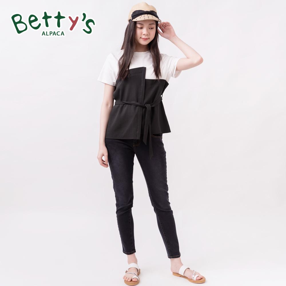 betty's貝蒂思 特殊彈性腰圍高腰排扣牛仔褲(黑色) @ Y!購物