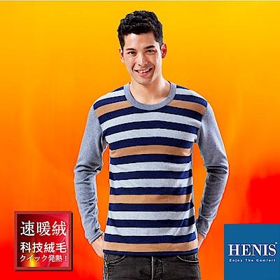 HENIS 禦寒神器 速暖羽式絨毛發熱衣 (麻灰/藍/咖啡)