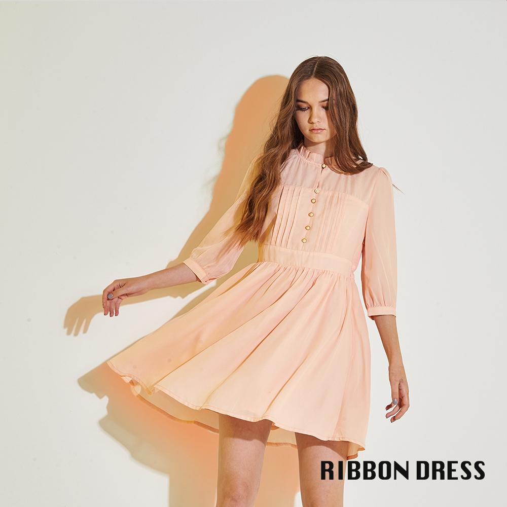 Ribbon 氣質小立領荷葉雪紡打褶七分袖造型洋裝-粉橘(共2色)