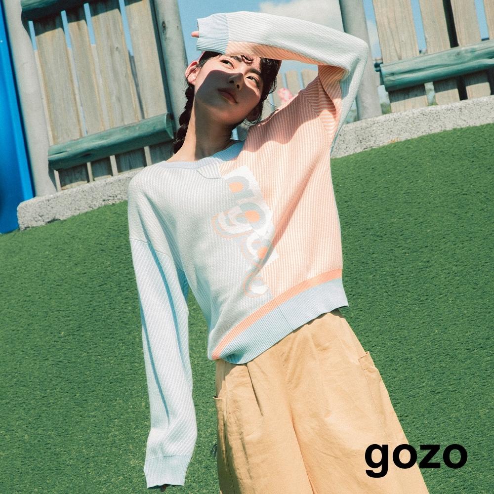 gozo 拼接撞色針織上衣(淺藍)